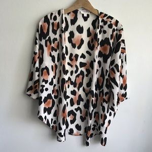 Peach Love Animal Print Open Front Kimono